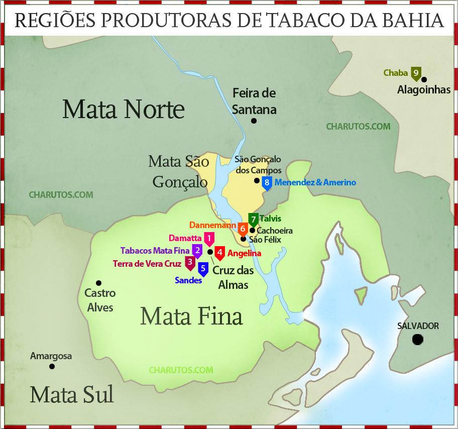 Mapa das Regiões Produtoras de Tabaco da Bahia